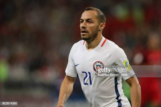 Marcelo Diaz of Chile looks on during the FIFA Confederations Cup Russia 2017 SemiFinal match between Portugal and Chile at Kazan Arena on June 28...