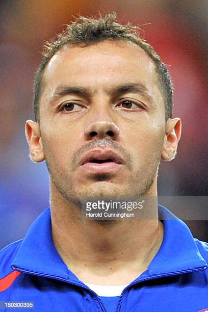 Marcelo Diaz of Chile looks on prior to the Spain v Chile international friendly at Stade de Geneve on September 10 2013 in Geneva Switzerland