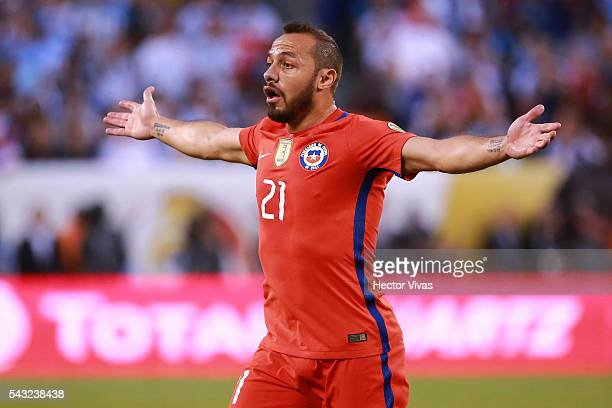 Marcelo Diaz of Chile reacts during the championship match between Argentina and Chile at MetLife Stadium as part of Copa America Centenario US 2016...