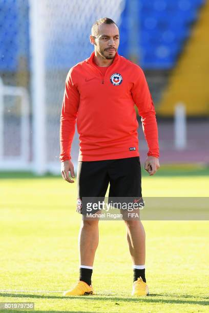 Marcelo Diaz of Chile takes part in a Chile training session during the FIFA Confederations Cup Russia 2017 at Central Stadium on June 27 2017 in...