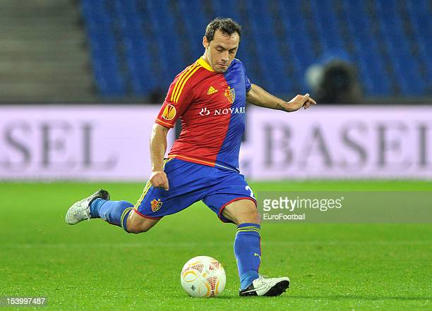 Marcelo Diaz of FC Basel 1893 in action during the UEFA Europa League group stage match between FC Basel 1893 and KRC Genk held on October 4 2012 at...