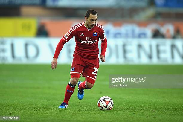 Marcelo Diaz of Hamburg runs with the ball during the Bundesliga match between SC Paderborn 07 and Hamburger SV at Benteler Arena on February 4 2015...