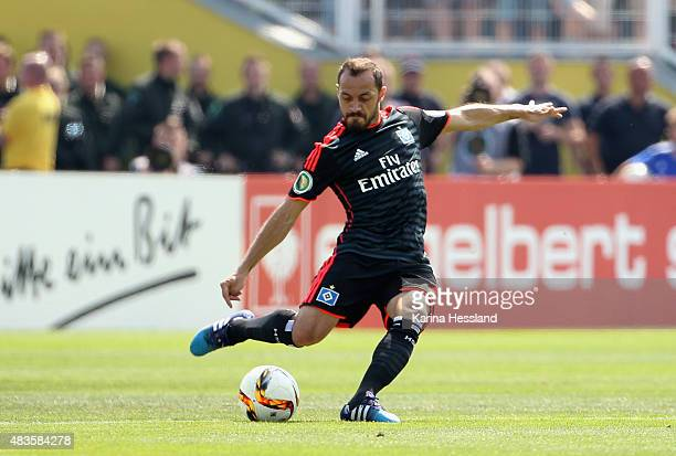Marcelo Diaz of Hamburger SV during the First Round of DFBCup between FC Carl Zeiss Jena and Hamburger SV at ErnstAbbeSportfeld on August 09 2015 in...