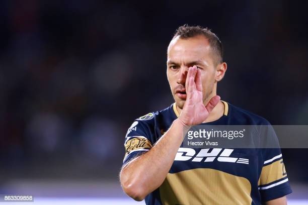 Marcelo Diaz of Pumas gestures during the 10th round match between Pumas UNAM and Leon as part of the Torneo Apertura 2017 Liga MX at Olimpico...