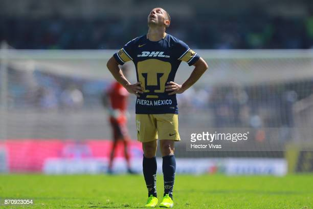 Marcelo Diaz of Pumas reacts during the 16th round match between Pumas UNAM and Santos Laguna as part of the Torneo Apertura 2017 Liga MX at Olimpico...