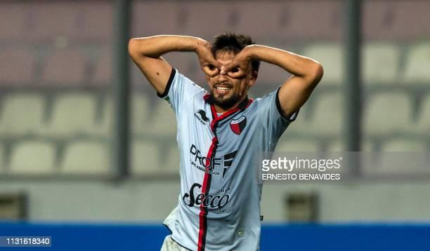 Marcelo Estigarribia of Argentina's Colon de Santa Fe celebrates after scoring against Peru's Deportivo Municipal during a Sudamericana Cup football...
