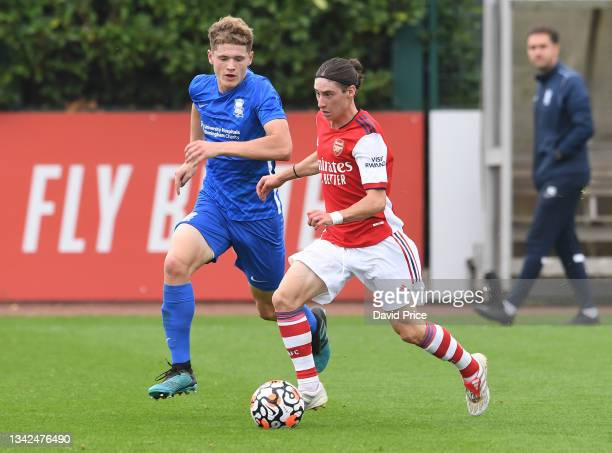 Marcelo Flores of Arsenal during the U18 Premier League match between Arsenal U18 and Birmingham City U18 at London Colney on September 25, 2021 in...