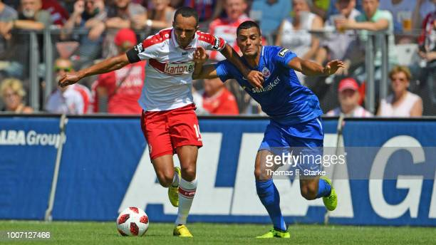 Marcelo Freitas of Cottbus and Joshua Nadeau of Rostock fight for the ball during the 3. Liga match between FC Energie Cottbus and F.C. Hansa Rostock...