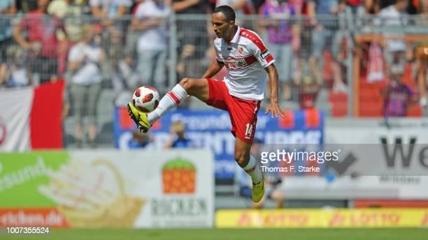 Marcelo Freitas of Cottbus kicks the ball during the 3. Liga match between FC Energie Cottbus and F.C. Hansa Rostock at Stadion der Freundschaft on...