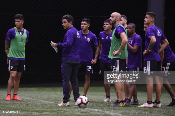 Marcelo Gallardo coach and players of River Plate during a training session at CAT Alfredo Gottardi on May 21 2019 in Curitiba Brazil River Plate...