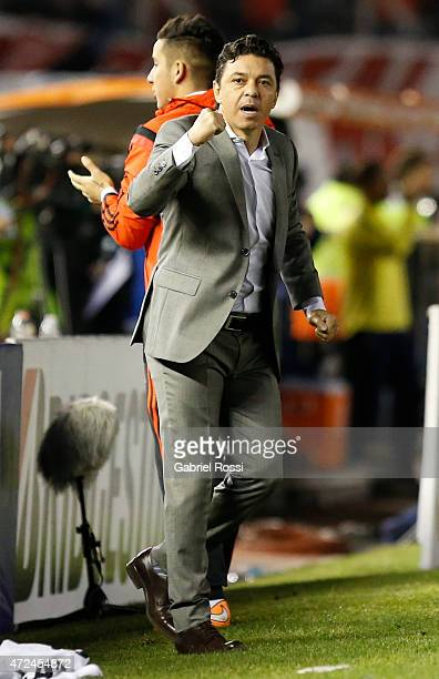 Marcelo Gallardo coach of of River Plate celebrates after the first goal of his team scored by Carlos Sanchez of River Plate during a first leg match...