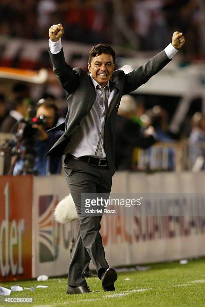 Marcelo Gallardo coach of of River Plate celebrates their team's first goal scored by Gabriel Mercado during a second leg final match between River...