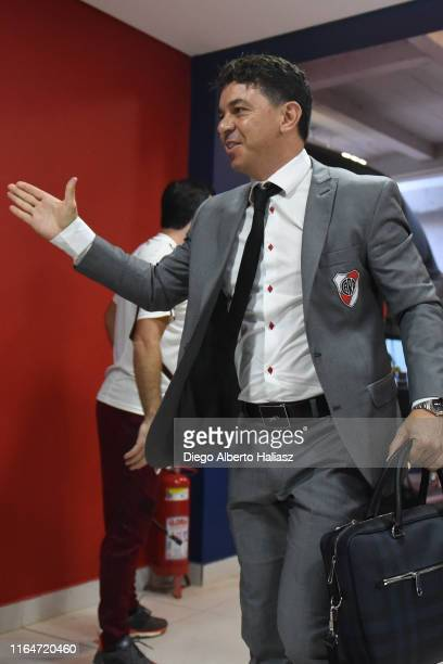 Marcelo Gallardo coach of River Plate arrives to the stadium before a match between Cerro Porteño and River Plate as part of Quarter Finals of Copa...