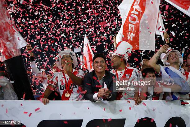 Marcelo Gallardo coach of River Plate celebrate with his players after winning the second leg final match between River Plate and Atletico Nacional...