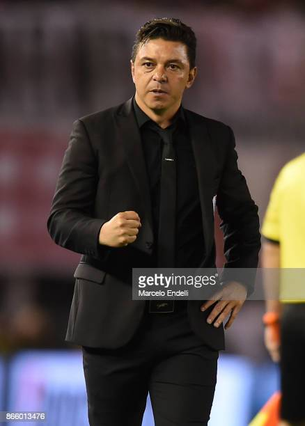 Marcelo Gallardo coach of River Plate celebrates after Ignacio Scocco scored the first goal of his team during a first leg match between River Plate...