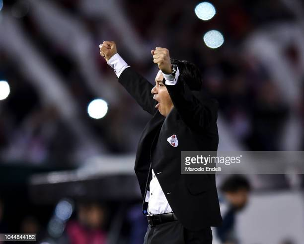 Marcelo Gallardo coach of River Plate celebrates after winning a quarter final second leg match of Copa CONMEBOL Libertadores 2018 between River...