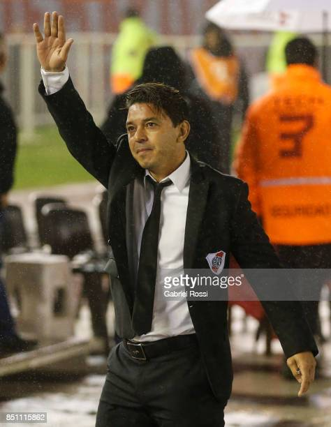 Marcelo Gallardo coach of River Plate cheers prior to a second leg match between River Plate and Wilstermann as part of the quarter finals of Copa...