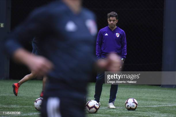 Marcelo Gallardo coach of River Plate during a training session at CAT Alfredo Gottardi on May 21 2019 in Curitiba Brazil River Plate will face...