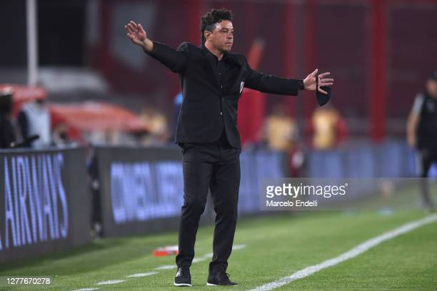 Marcelo Gallardo coach of River Plate gestures during a Copa CONMEBOL Libertadores 2020 group D match between River Plate and Sao Paulo at Estadio...