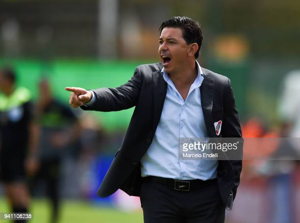 Marcelo Gallardo coach of River Plate gestures during a match between Defensa y Justicia and River Plate as part of Superliga 2017/18 at Norberto...