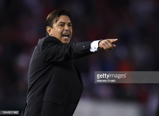 Marcelo Gallardo coach of River Plate gestures during a quarter final second leg match of Copa CONMEBOL Libertadores 2018 between River Plate and...