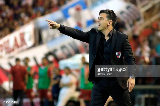 Marcelo Gallardo coach of River Plate gestures during the final of Copa Argentina 2019 between Central Cordoba and River Plate at Estadio Malvinas...