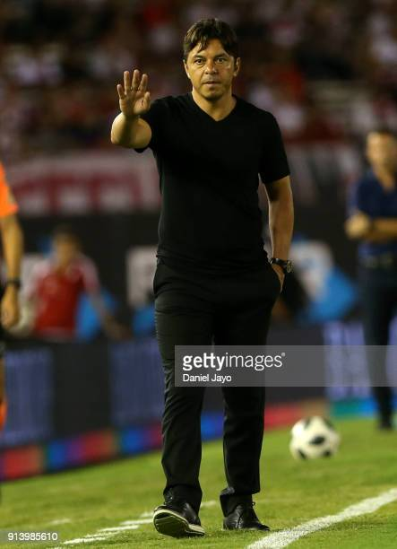 Marcelo Gallardo coach of River Plate gives directions to his players during a match between River Plate and Olimpo as part of Superliga 2017/18 at...