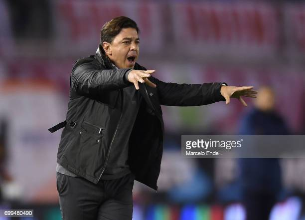 Marcelo Gallardo coach of River Plate gives instructions to his players during a match between River Plate and Aldosivi as part of Torneo Primera...