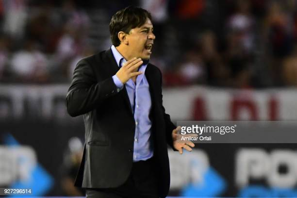 Marcelo Gallardo coach of River Plate gives instructions to his players during a match between River Plate and Chacarita as part of Superliga 2017/18...