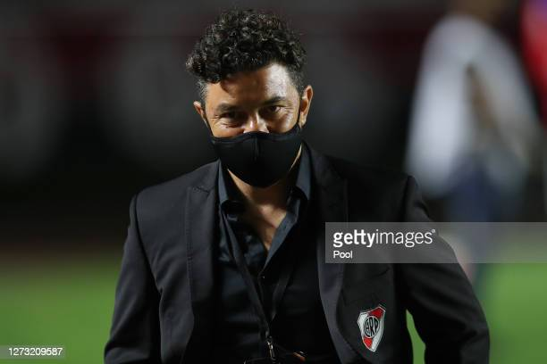 Marcelo Gallardo coach of River Plate looks on before a group D match of Copa CONMEBOL Libertadores 2020 between Sao Paulo and River Plate at Morumbi...