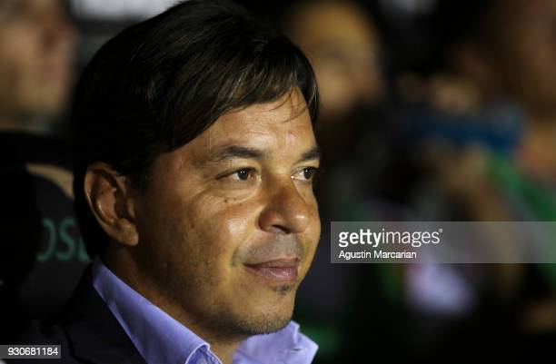 Marcelo Gallardo coach of River Plate looks on before a match between Patronato and River Plate as part of Superliga 2017/28 at Estadio Presbitero...