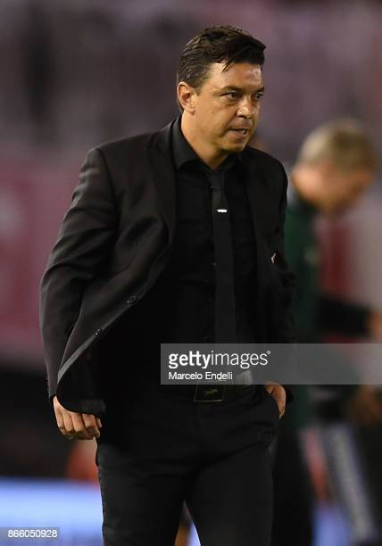 Marcelo Gallardo coach of River Plate looks on during a first leg match between River Plate and Lanus as part of semifinals of Copa CONMEBOL...