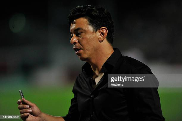 Marcelo Gallardo coach of River Plate looks on during a group stage match between Trujillanos and River Plate as part of Copa Bridgestone...