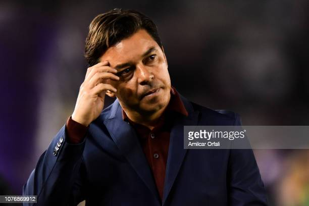 Marcelo Gallardo coach of River Plate looks on during a match between River Plate and Gimnasia y Esgrima La Plata as part of Superliga 2018/19 at...