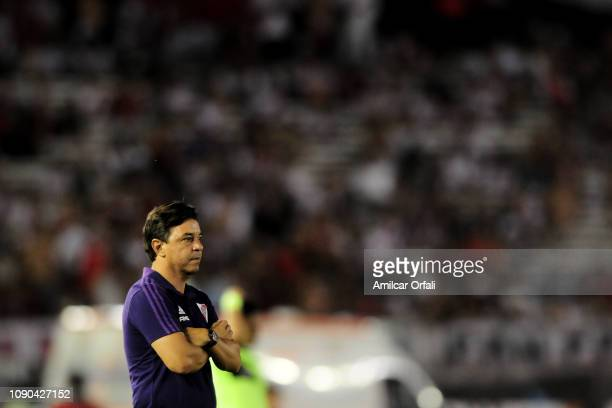 Marcelo Gallardo coach of River Plate looks on during a match between River Plate and Patronato as part of Superliga 2018/19 at Estadio Monumental...