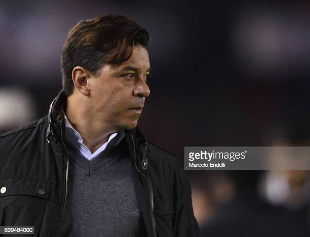 Marcelo Gallardo coach of River Plate looks on during a match between River Plate and Aldosivi as part of Torneo Primera Division 2016/17 at...