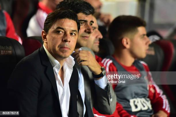 Marcelo Gallardo coach of River Plate looks on during a match between Colon and River Plate as part of Torneo Primera Division 2016/17 at Brigadier...