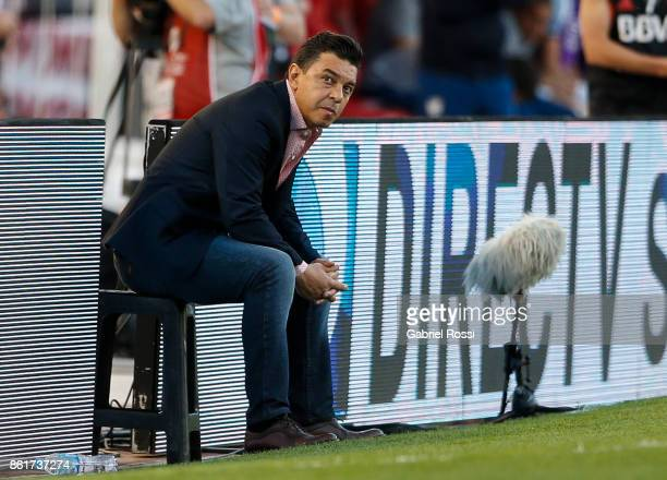 Marcelo Gallardo coach of River Plate looks on during a match between River Plate and Atletico de Tucuman as part of Superliga 2017/18 at Monumental...