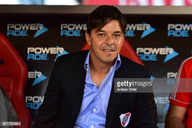 Marcelo Gallardo coach of River Plate looks on during a match between River Plate and Chacarita as part of Superliga 2017/18 at Estadio Monumental...