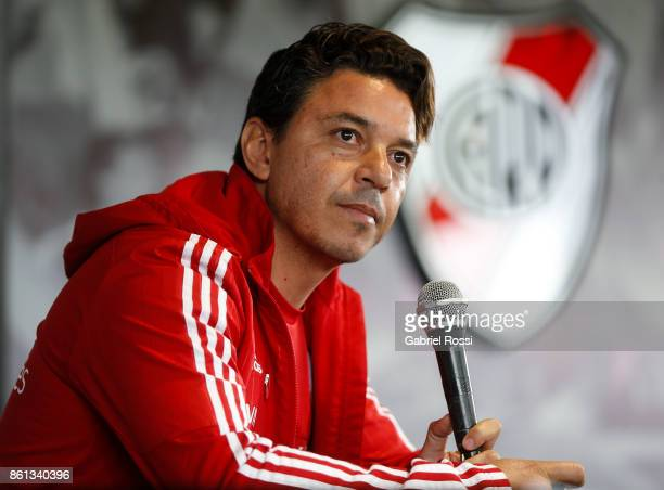 Marcelo Gallardo coach of River Plate looks on during a press conference at River Camp on October 13 2017 in Ezeiza Argentina