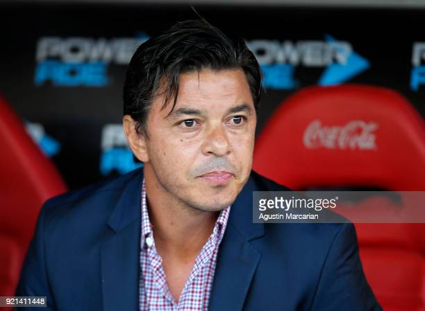 Marcelo Gallardo coach of River Plate looks on prior a match between River Plate and Godoy Cruz as part of Argentina Superliga 2017/18 at Estadio...