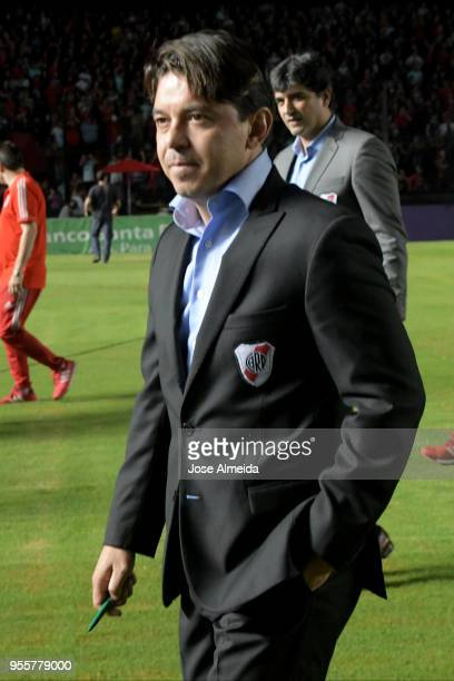 Marcelo Gallardo coach of River Plate looks on prior to a match between Colon and River Plate as part of Superliga at Brigadier General Estanislao...