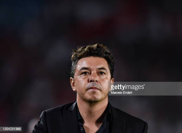 Marcelo Gallardo coach of River Plate reacts after a match between River Plate and Defensa y Justicia as part of Superliga 2019/20 at Antonio...