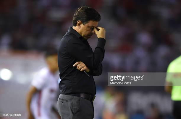 Marcelo Gallardo coach of River Plate reacts during a match between River Plate and Union as part of Round 12 of Superliga 2018/19 at Estadio...