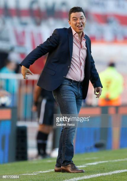 Marcelo Gallardo coach of River Plate reacts during a match between River Plate and Atletico de Tucuman as part of Superliga 2017/18 at Monumental...