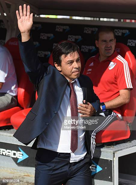 Marcelo Gallardo coach of River Plate salutes to his fans during a match between River Plate and Boca Juniors as part of Torneo Primera Division...
