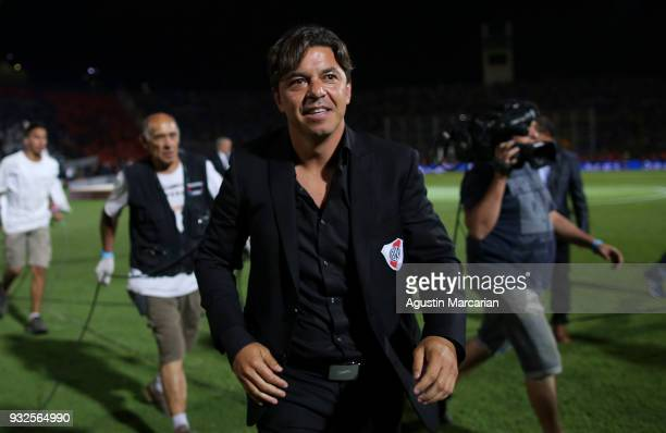 Marcelo Gallardo coach of River Plate smiles after winning the Supercopa Argentina 2018 against Boca Juniors at Malvinas Argentinas Stadium on March...
