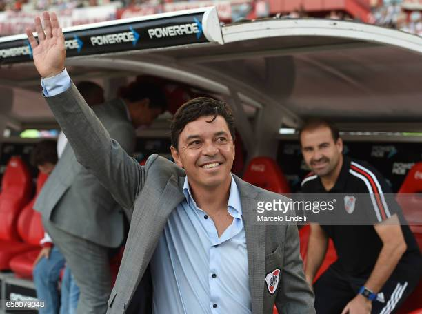 Marcelo Gallardo coach of River Plate waves at the fans prior a match between River Plate and Belgrano as part of Torneo Primera Division 2016/17 at...