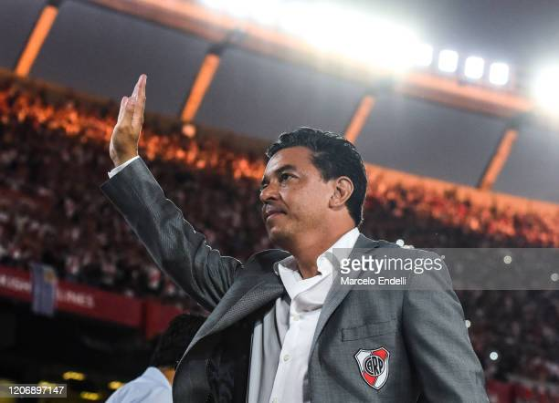 Marcelo Gallardo coach of River Plate waves the fans before a match between River Plate and Banfield as part of Superliga 2019/20 at Antonio Vespucio...