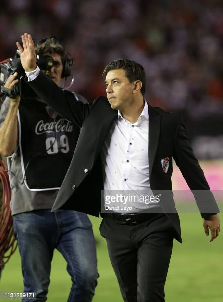Marcelo Gallardo coach of River Plate waves to fans at the end of a match between River Plate and Independiente as part of Superliga 2108/19 at...
